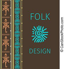 Cute folk design with colorful borsers