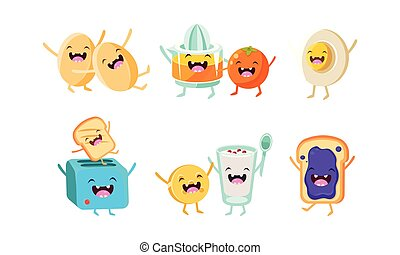 Cute food and drinks characters set, funny healthy breakfast, eggs, toaster with toast, biscuit and yogurt, sandwich with jam vector Illustration