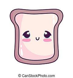 cute food bread sweet dessert kawaii cartoon isolated design