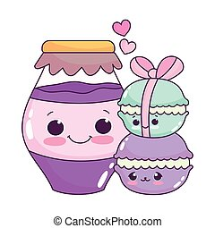cute food macarons and jar with jam sweet dessert pastry cartoon isolated design