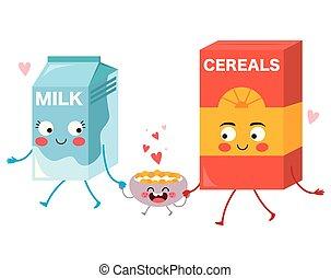Cute Food Milk Cereals Family