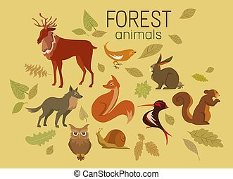 Cute Forest Animals and Autumn Leaves Collection