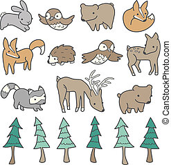 Cute Forest Animals - Forest animals and trees illustrated...