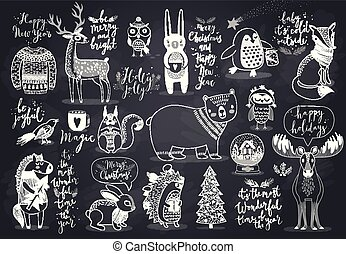 Cute forest animals set.