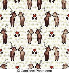 Cute forest deer love vector illustration. Buck deer with ...