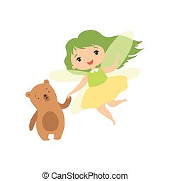 Cute Forest Fairy with Little Bear, Lovely Fairy Girl Cartoon Character with Green Hair and Wings Vector Illustration
