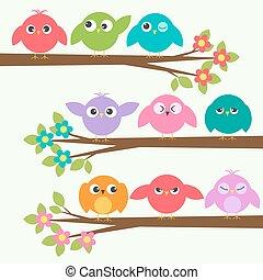 cute, forskellige, sæt, træer, emotions, branch, blooming, fugle
