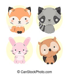 cute four animals comic cartoon characters