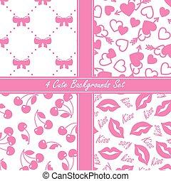 Cute four seamless set, pink