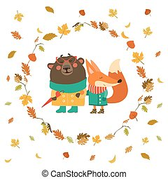 Cute fox and bear walking in wreath of autumn leaves