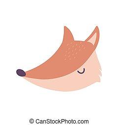 cute fox animal face cartoon isolated design icon