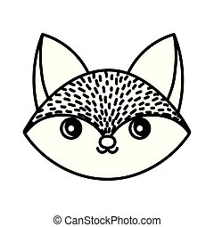 cute fox animal head on white background thick line