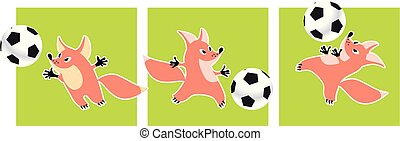 Cute fox animal mascot with soccer ball vector illustration. Childish style image for card, decor.