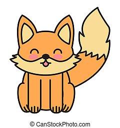 cute fox animal tender isolated icon