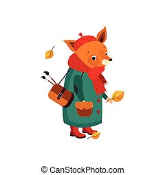 Cute Fox Artist in Autumn. Vector Illustration