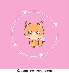 cute fox baby animal kawaii style