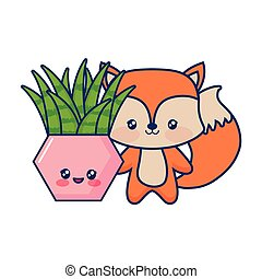 cute fox baby with cartoon potted plant