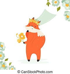 Cute fox bride in a veil with bunch of flowers