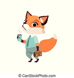 Cute fox businessman character in formal wear with cup of coffee and briefcase, funny forest animal vector Illustration on a white background