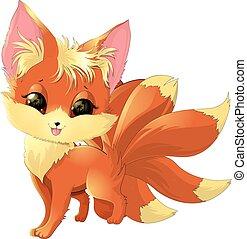 cute fox cartoon - cartoon cute fox on a white background