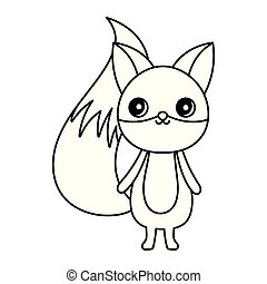 cute fox cartoon character on white background thick line