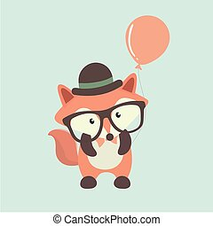 Cute fox cartoon on pastel background.