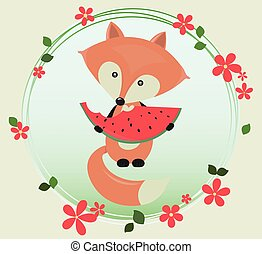 Cute Fox eating Watermelon