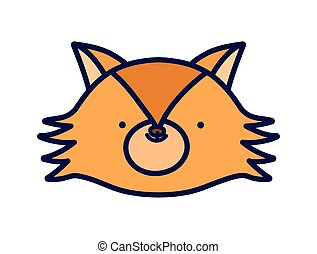 cute fox face animal cartoon character on white background