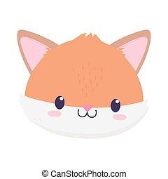 cute fox face animal cartoon isolated icon