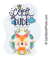 cute fox flowers frame leaves foliage cool dude lettering