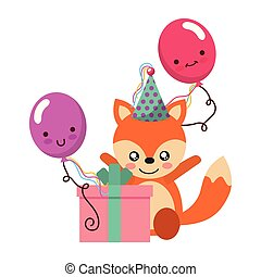 cute fox gift balloon kawaii birthday vector illustration