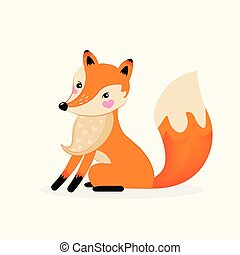 Cute Fox girl cartoon hand drawn vector illustration for baby t-shirt print, fashion print design, kids wear, clothes, baby celebration greeting and invitation card.