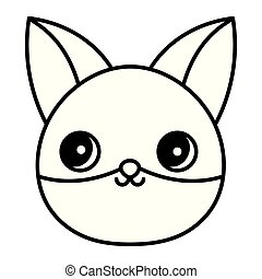 cute fox head animal cartoon thick line