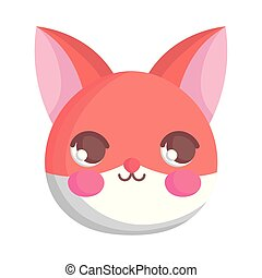 cute fox head animal cartoon