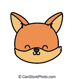 cute fox head cartoon icon