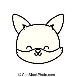 cute fox head cartoon icon thick line