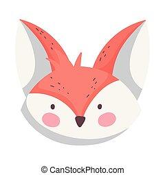 cute fox head cartoon on white background