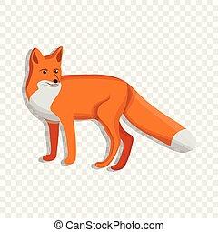 Cute fox icon, cartoon style
