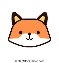 cute fox kawaii animal line and fill style