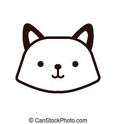 cute fox kawaii animal line style