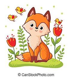 Cute fox sidit on a flower meadow.