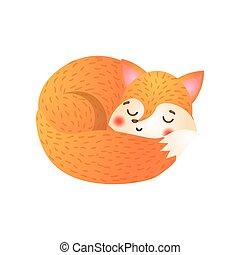 Cute fox sleeps. Raster illustration in flat cartoon style on white background