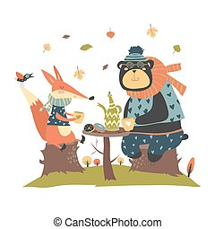 Cute fox with bear drinking tea in the autumn forest