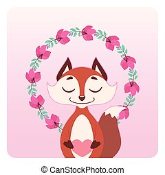 Cute fox with floral wreath
