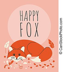 Cute fox with flowers and plants greeting card