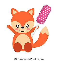 cute fox with lollipop sweet candy
