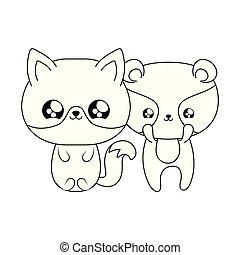 cute fox with raccoon baby animals kawaii style