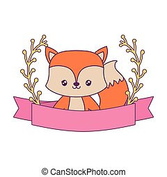 cute fox with ribbon and branches of leafs