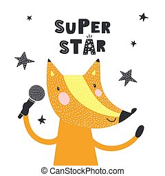Cute fox with text Super star. Vector illustration