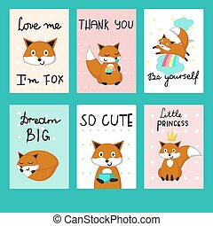 Cute foxes cards vector template set
